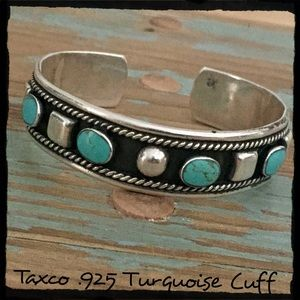 Vtg Taxco Sterling Silver Cuff w/ Turquoise Stones